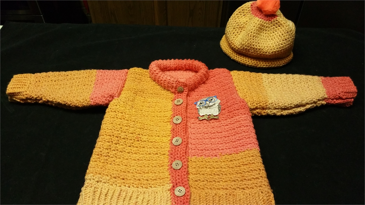 Fall sweater with hat  ...crocheted for  3 or 4 year old