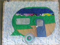 Quilted mug rugs or centre piece  Vintage Campers and Owls Canadian Funds add for shipping