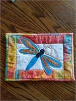"""Beautiful Dragonfly Quilted """"Mug Rug""""  Priced in Canadian Dollars!  Ask about our Combined Shipping!"""