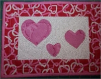 "Hearts Quilted Mug Rug  6 1/2 "" x 10"""