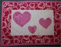 "Hearts Quilted Mug Rug  6 1/2 "" x 10"""