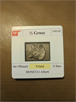 1/2 Gross 1492-05 Jan Olbracht Poland MONETA I Alberti X-Rare
